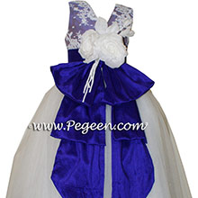 Antique white and Majestic Purple ballerina style Flower Girl Dresses with layers of tulle
