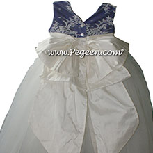Antique white and Royal Purple ballerina style Flower Girl Dresses with layers of tulle