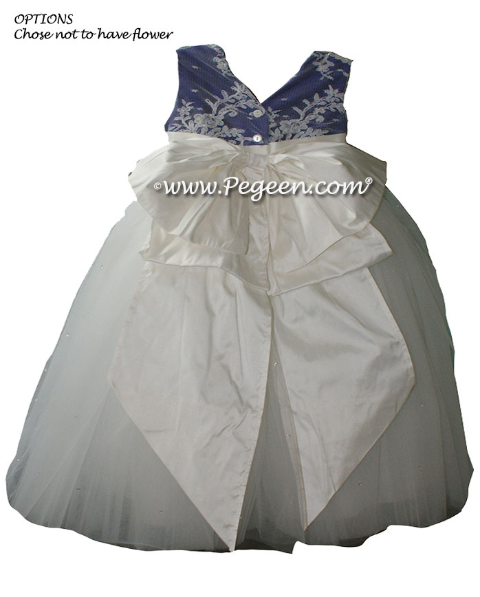 Antique white and Royal Purple aloncon lace and tulle silk flower girl dresses