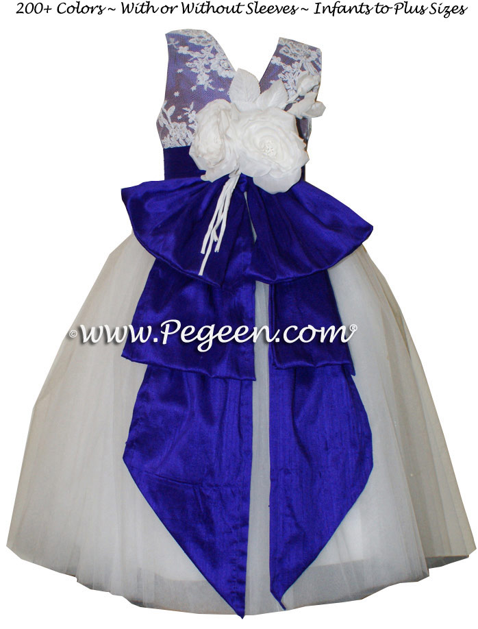 Royal Purple tulle flower girl dresses with Aloncon Lace Couture Style 697