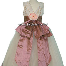 Canyon and pure gold tulle flower girl dresses