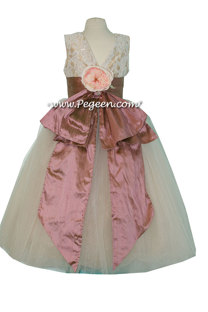 Spun Gold and Canyon Pink aloncon lace and tulle flower girl dresses Pegeen Style 697