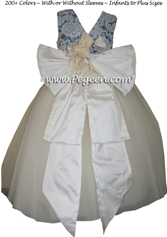 New Ivory and Storm Blue Flower Girl Dresses with layers of tulle and Beaded Aloncon Lace