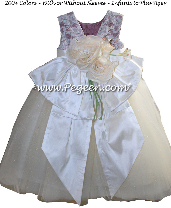 New Ivory and Thistle aloncon lace and tulle silk flower girl dresses