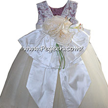 New Ivory and Thistle ballerina style Flower Girl Dresses with layers of tulle