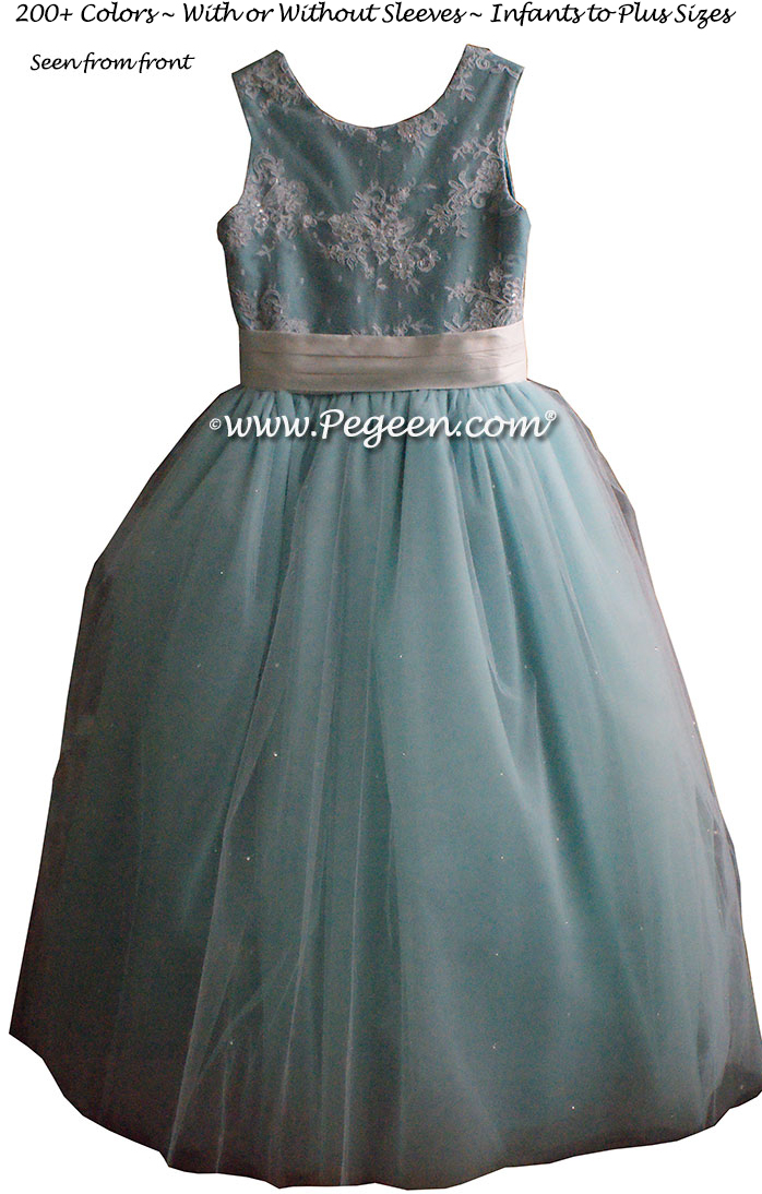 Tiffany Blue ballerina style Flower Girl Dresses with layers and layers of tulle