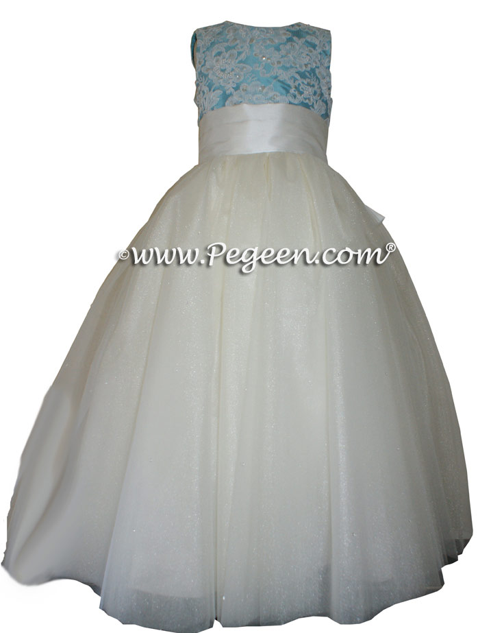 Tiffany Blue ballerina style custom flower girl dress with layers of tulle