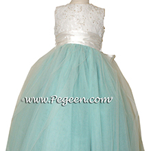 Aqua and white aloncon lace degas style tulle ballerina silk flower girl dresses