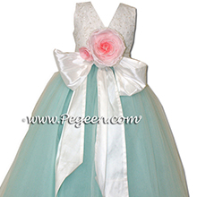 Aqua and white aloncon lace degas style tulle ballerina tiffany blue silk flower girl dresses