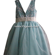 Tiffany Blue and aloncon lace degas style tulle ballerina Flower Girl Dresses