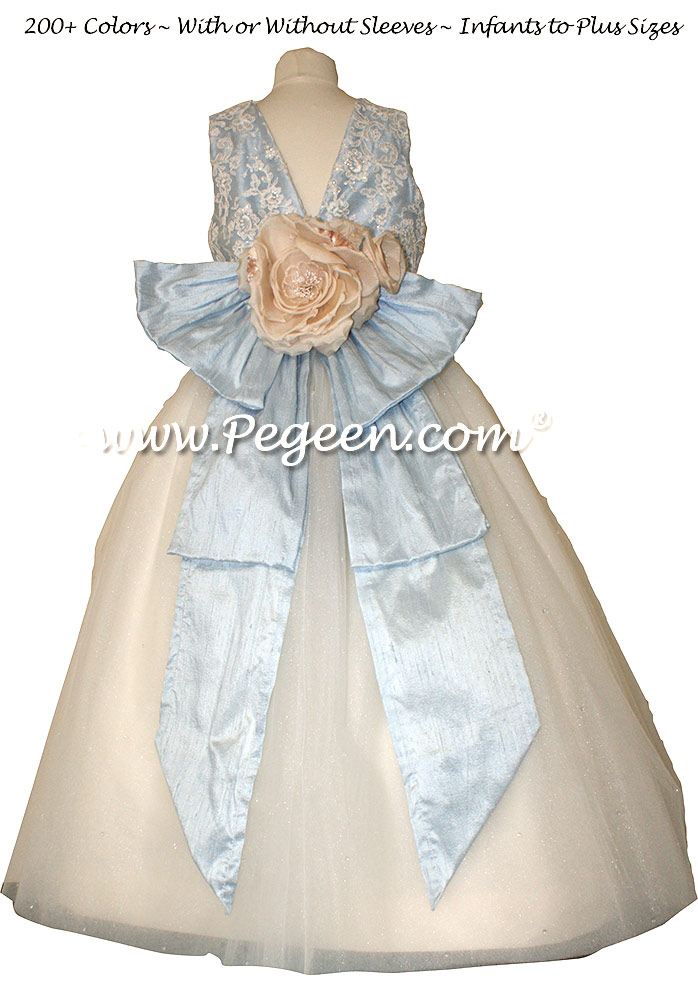 Antique New Ivory and Cloud Blue ballerina style Flower Girl Dresses with layers and layers of tulle
