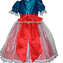 Peacock and Santa Red Silk Nutcracker Party Scene Dress Style 703