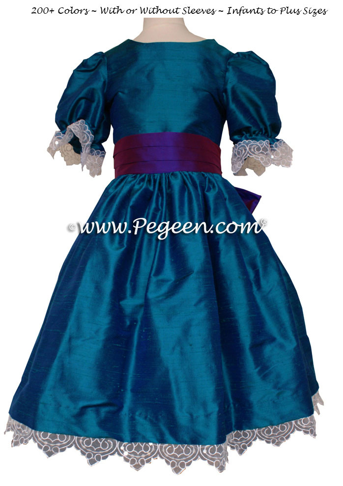 Peacock and Regal Purple flower girl dresses Style 745 by Pegeen