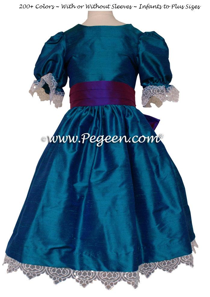 Peacock and Purple Prince Silk Clara Nutcracker Dress Style 745