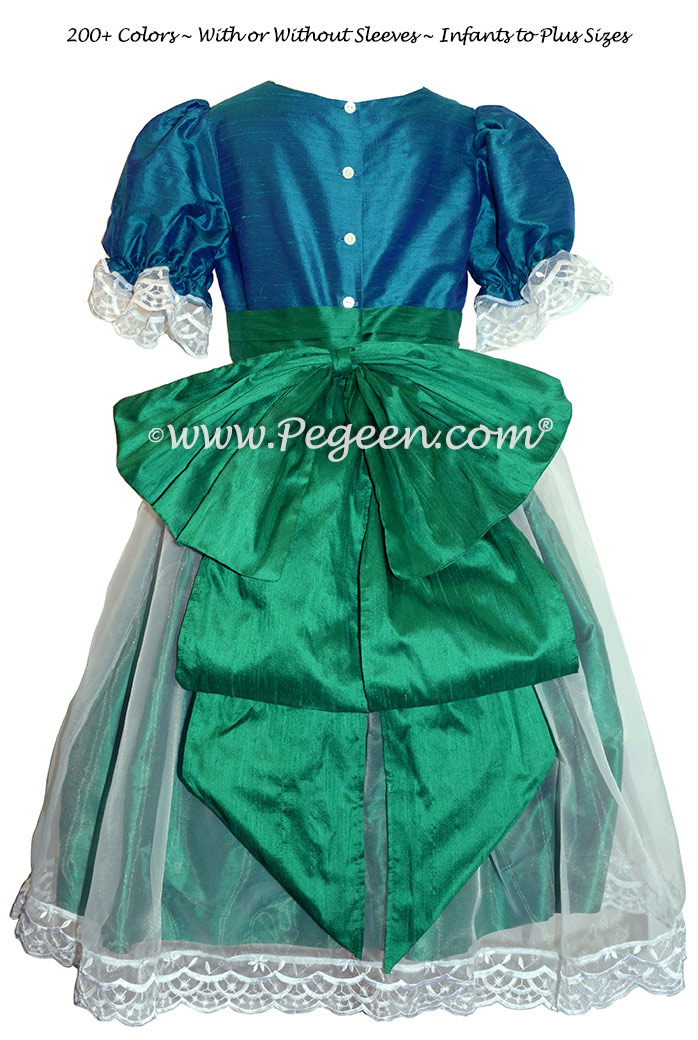 Peacock and Shamrock Green Silk Nutcracker Party Scene Dress Style 703 by Pegeen