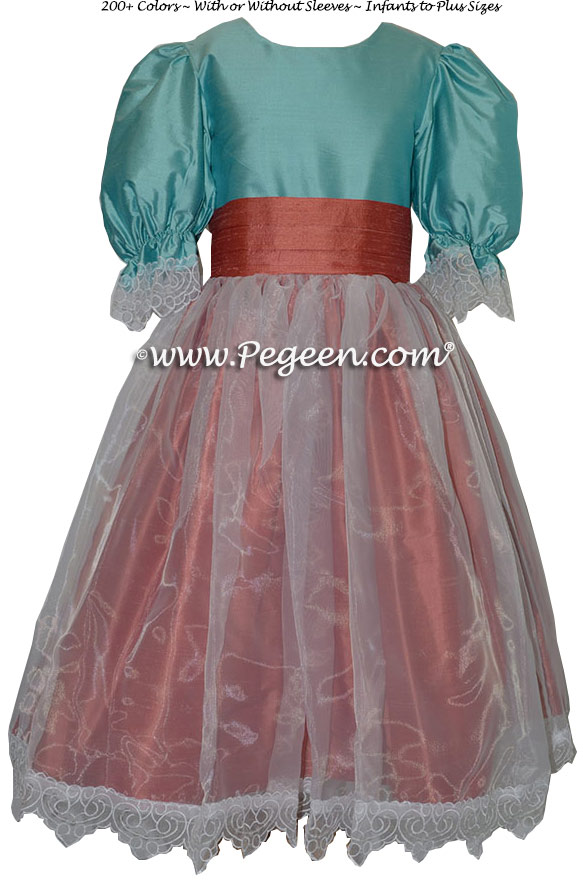 Tiffany Blue and Salmon Flame Nutcracker Party Scene Dress Style 703 by Pegeen
