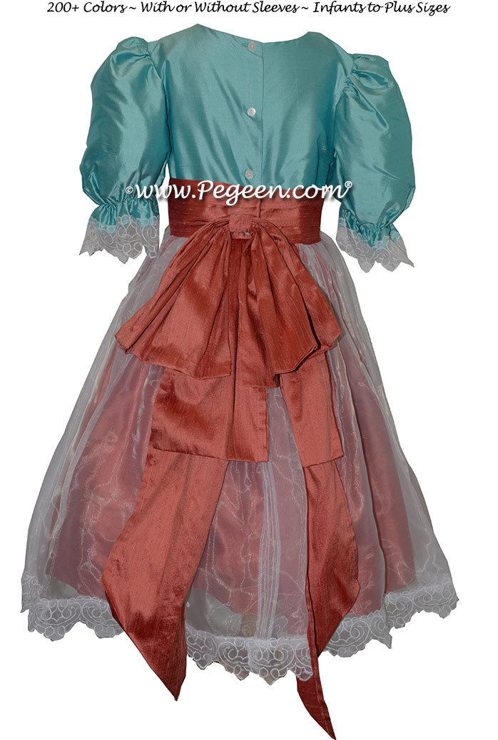 Nutcracker Party Scene Dress in Tiffany and Salmon Flame Pegeen Style 745