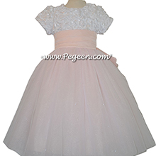 pink ribbon bodice flower girl dresses
