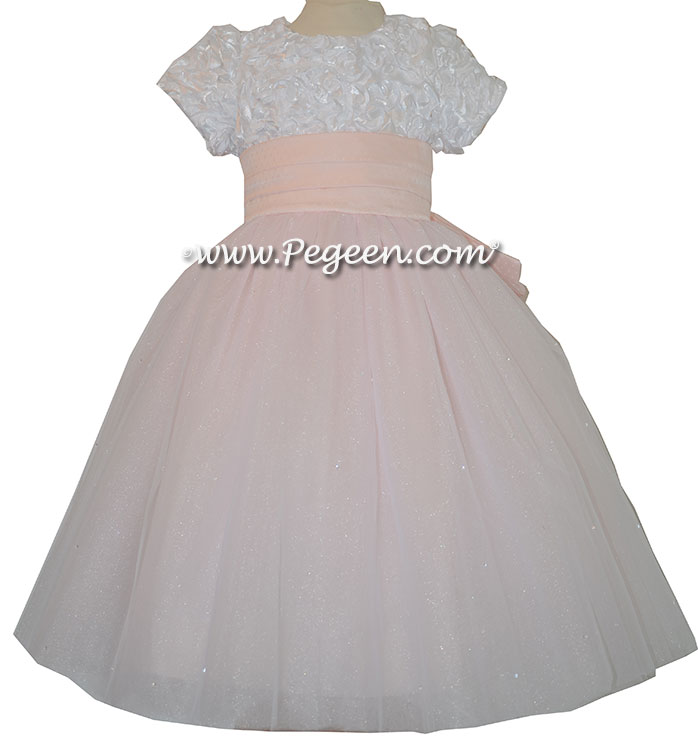 Flower Girl Dress with White Ribbon Flowered Bodice and Pink Tulle Skirt | Pegeen