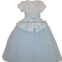 Baby Blue and White Ribbon Flowered Bodice Nutcracker or Flower Girl Dresses