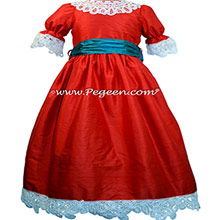 Christmas Red and Baltic Sea Clara Nutcracker Party Scene Dress Silk Nutcracker Party Scene Dress Style 708 by Pegeen