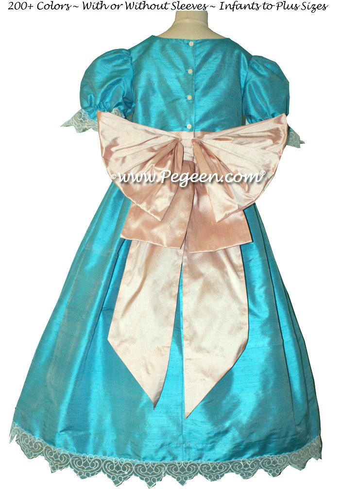 Matisse Blue and Petal Pink Nutcracker Party Scene Dress Style 745 by Pegeen
