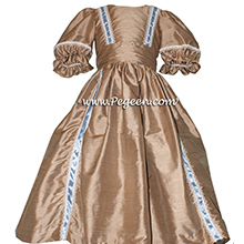 NUTCRACKER PARTY DRESS - NUTCRACKER SUITE CLARA DRESS IN ANTQIGUA TAUPE SILK
