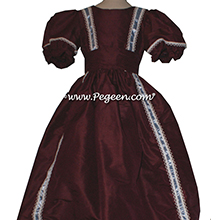 NUTCRACKER PARTY DRESS - NUTCRACKER SUITE CLARA DRESS IN BURGUNDY SILK