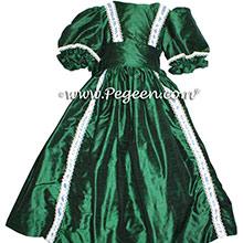 Forest Green silk style Nutcracker Party Scene Dress for Clara | Pegeen