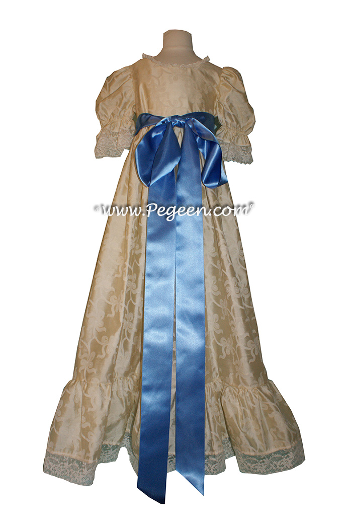 Clara's simple nightgown with a silk damask bow pattern for a Nutcracker Performance - Style 707