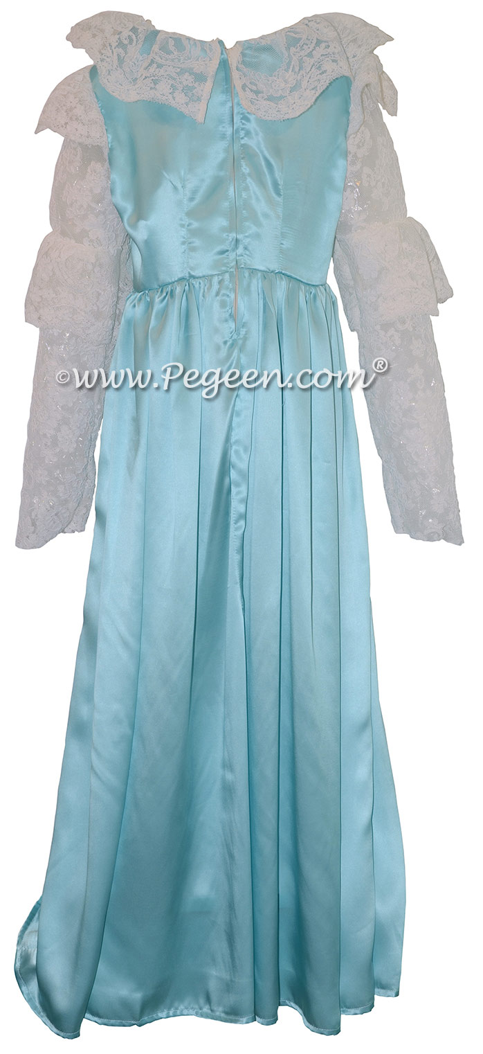 Clara Nutcracker Suite Nightgown dress in Turquoise Charmeuse Silk for ballet