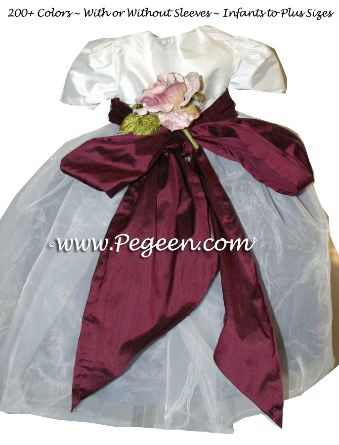 Eggplant, Ivory and Euro Lilac Organza Infant Flower Girl Dresses