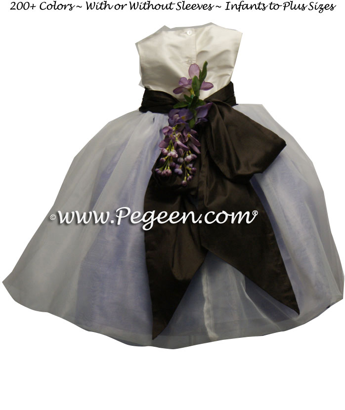 Lilac and Semi-Sweet Brown and white organza Infant FLOWER GIRL DRESSES