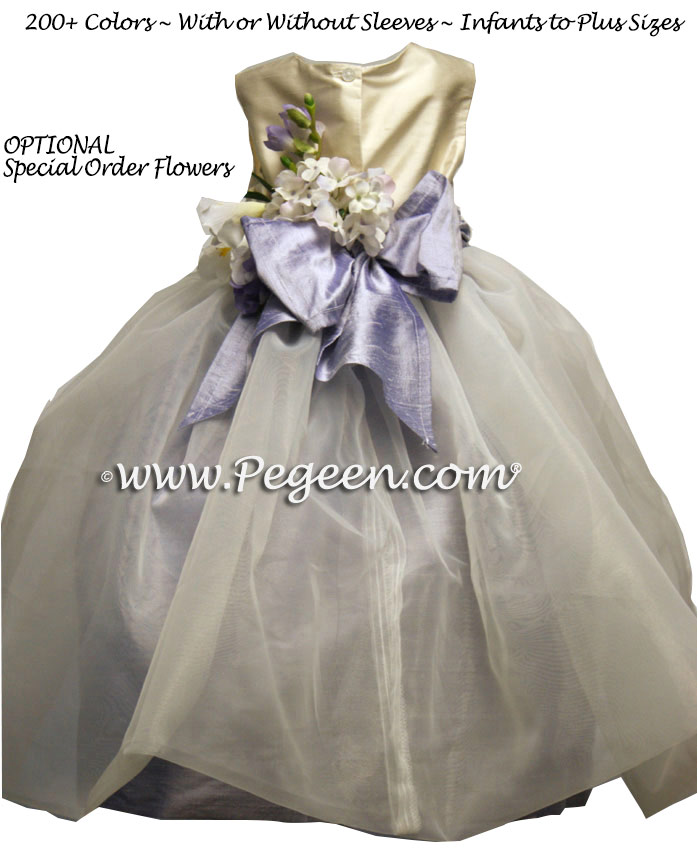 Lilac and New Ivory organza Infant Flower Girl Dresses