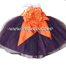 Deep plum and orange tulle infant flower girl dress in 6 months