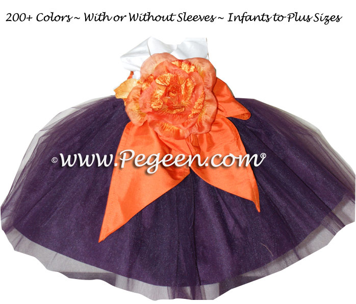 1000 Nights and New Carrot Orange organza Infant flower girl dress