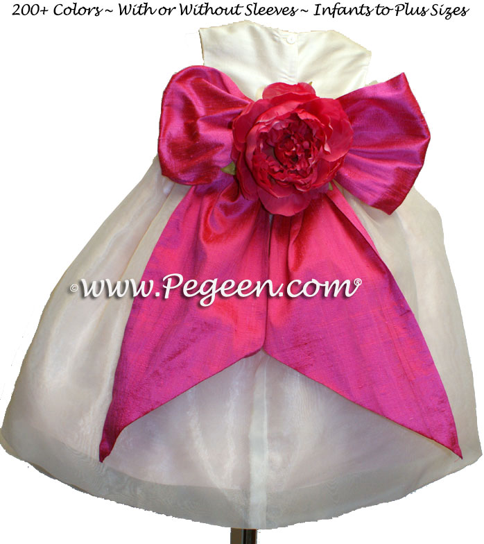 Shock pink, blush pink and ivory organza custom infant flower girl dress