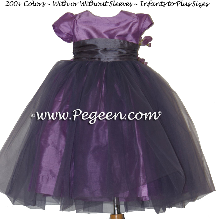 Thistle and Eurolilac with amethyst tulle Infant flower girl dress