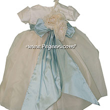Baby Blue and New Ivory organza flower girl dress