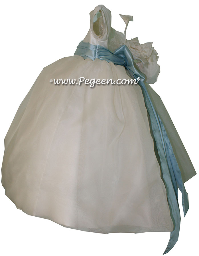 Spa Blue and New Ivory organza infant flower girl dress