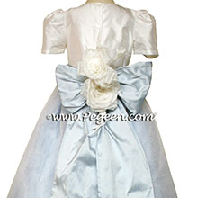 Baby Blue and Antique White organza Flower Girl Dresses by PEGEEN