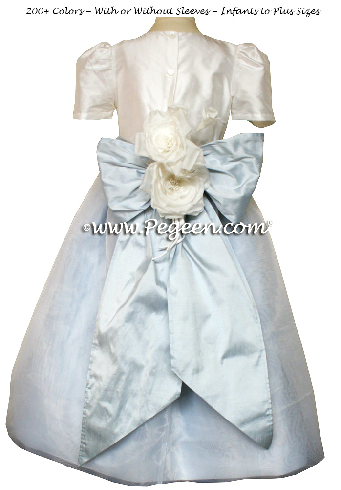 Flower girl dress in Baby Blue and Antique White organza with organza