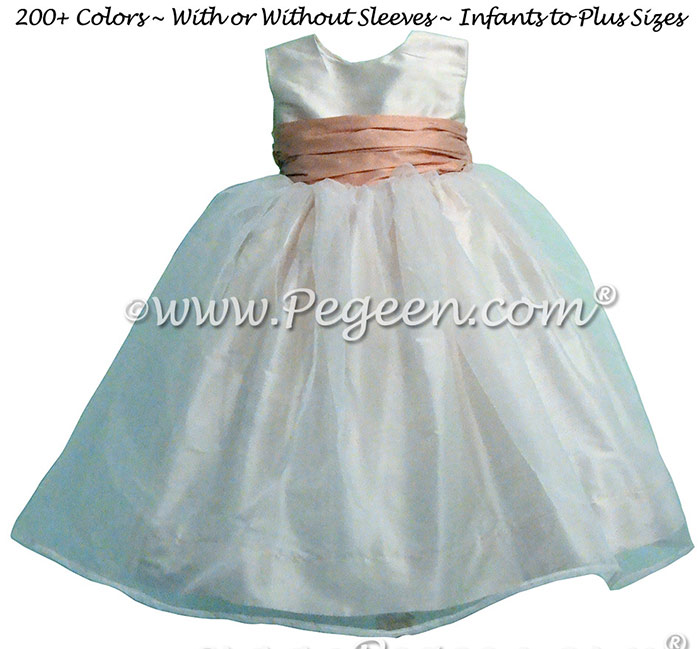 Ballet Pink and New Ivory Infant Flower Girl Dresses Style 802