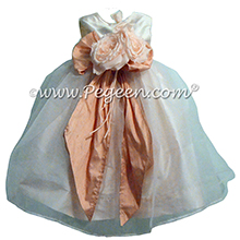 Ballet Pink and New Ivory infant flower girl dresses Pegeen style 802