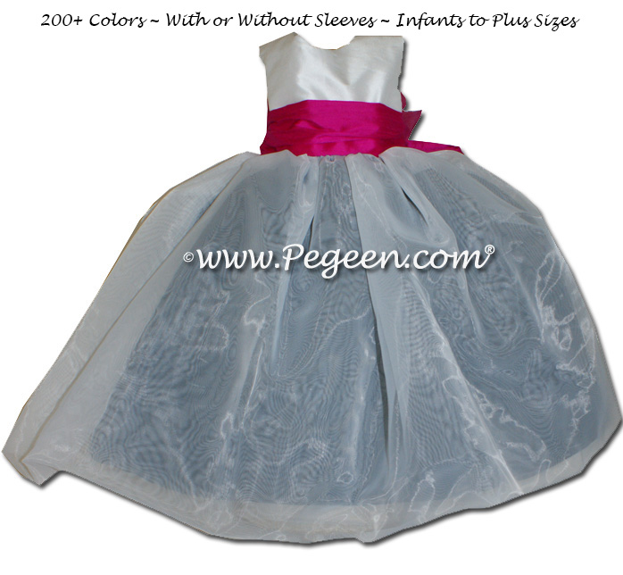 Flower girl dress in Boing Hot pink and Black and Antique White with organza