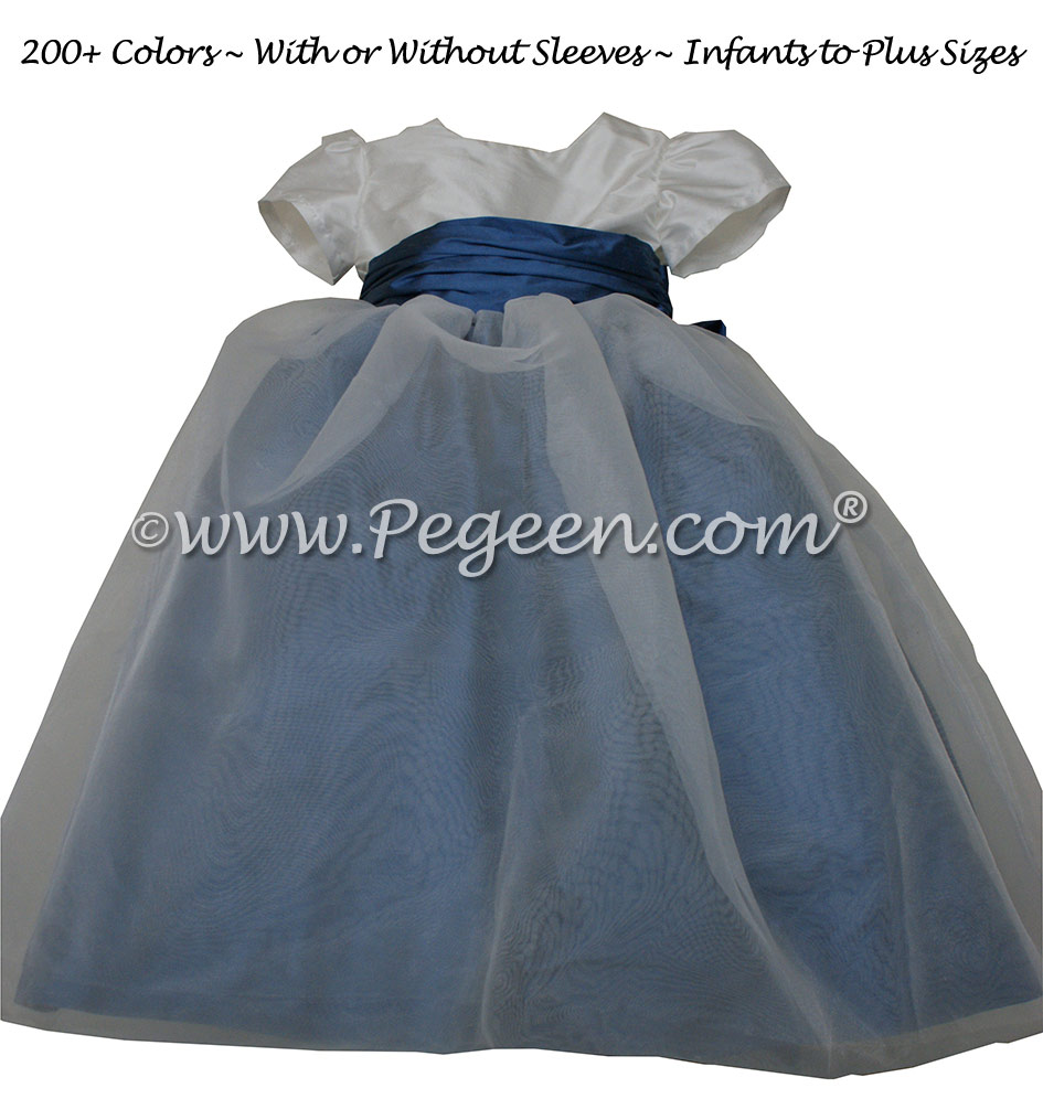 Blueberry and antique white and organza silk flower girl dresses