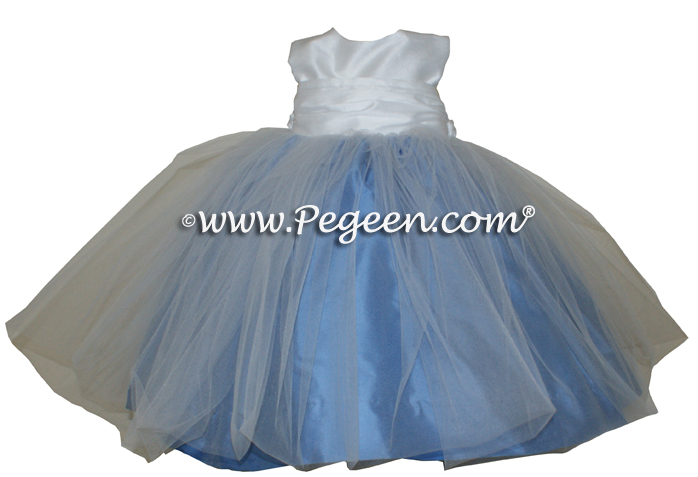 Infant flower girl dress in Baby Moon and White tulle   Pegeen