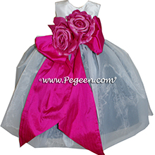 Boing Hot pink, Black and Antique White organza Infant Flower Girl Dresses