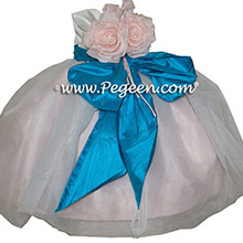 Peony Pink, Malibu Blue Infant Flower Girl Dresses Style 802