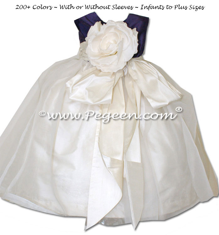 Flower girl dress in Deep Plum and Bisque organza with organza
